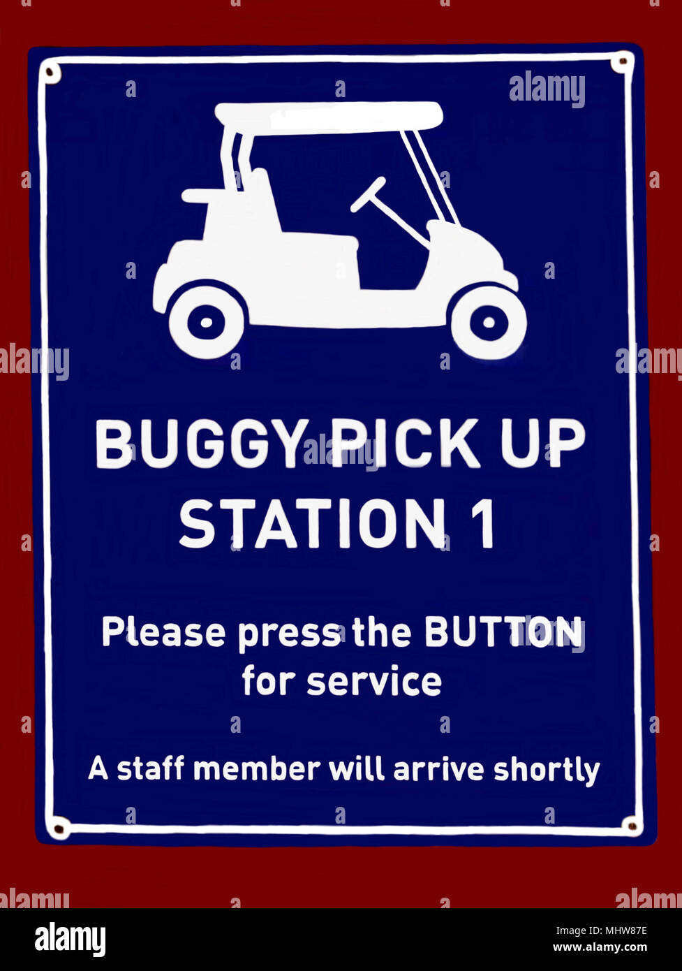 A notice indicating where pedestrians can arrange pickup in a golf buggy f - Stock Image