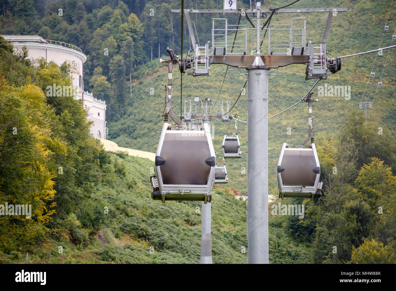 Photo of funicular in mountain slope - Stock Image