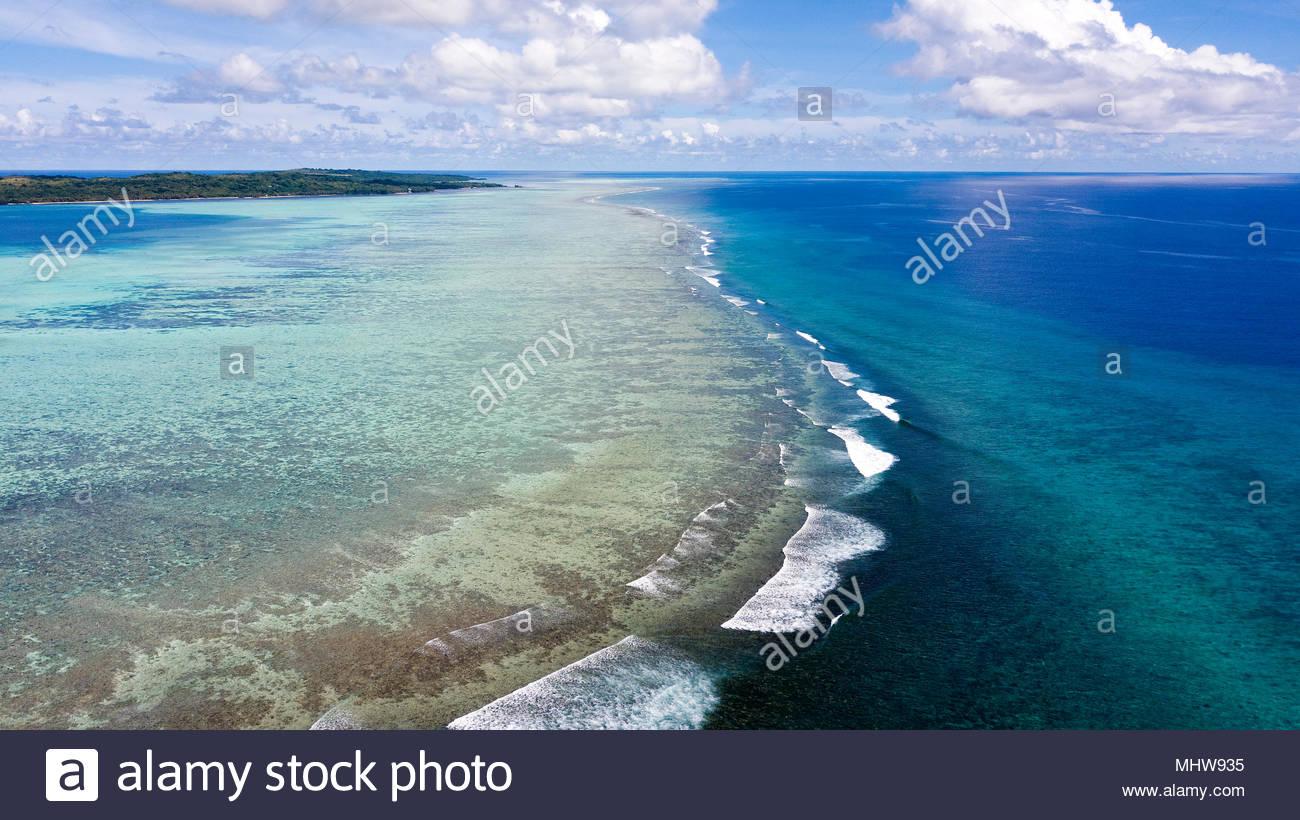Coral Reef, waves, ocean, sea, clouds, Yap Island, Federal States of Micronesia, Ausralia, Oceania, pacific / Yap Island   Korallenriff, Wellen, Meer, - Stock Image