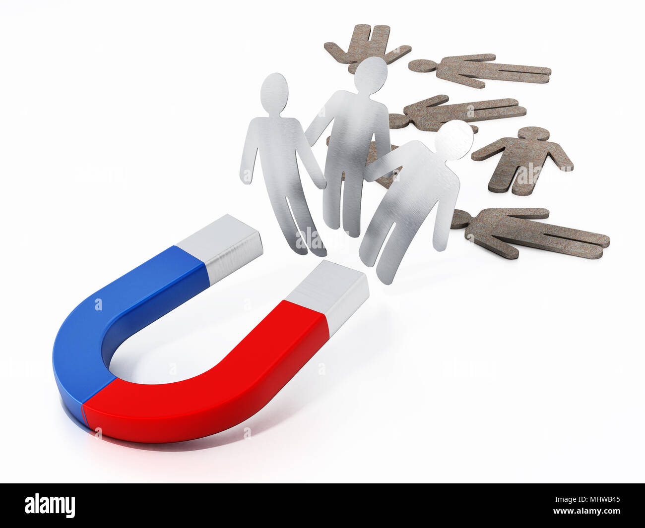 Horseshoe magnet pulling metal figures. 3D illustration. - Stock Image