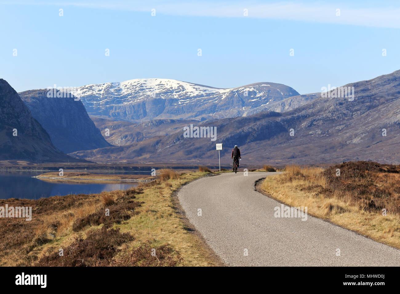 Cyclist on North Coast 500 near Loch Eriboll - Stock Image