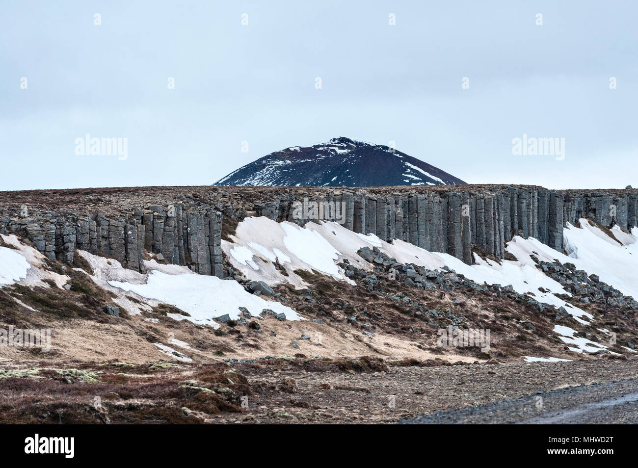 Snæfellsnes Peninsula, West Iceland. The 500m long cliff of basalt column stacks at Gerðuberg, just off highway 54 - Stock Image