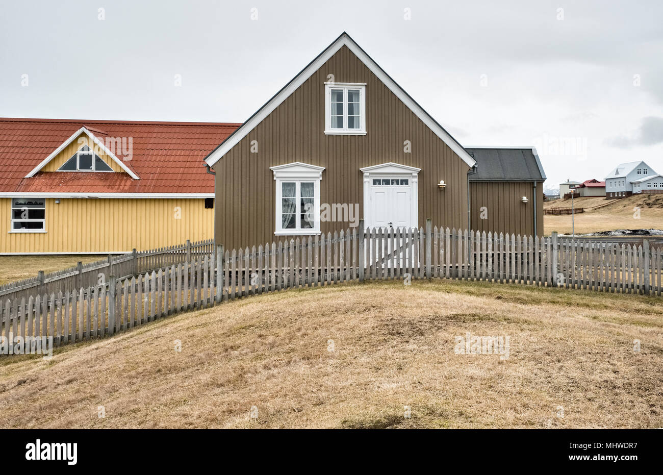 West Iceland - typical houses in the picturesque town of Stykkishólmur on the Snæfellsnes peninsula. - Stock Image