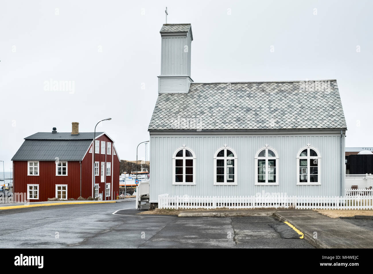 West Iceland - the picturesque town of Stykkishólmur on the Snæfellsnes peninsula. The old wooden church, built in 1879 - Stock Image