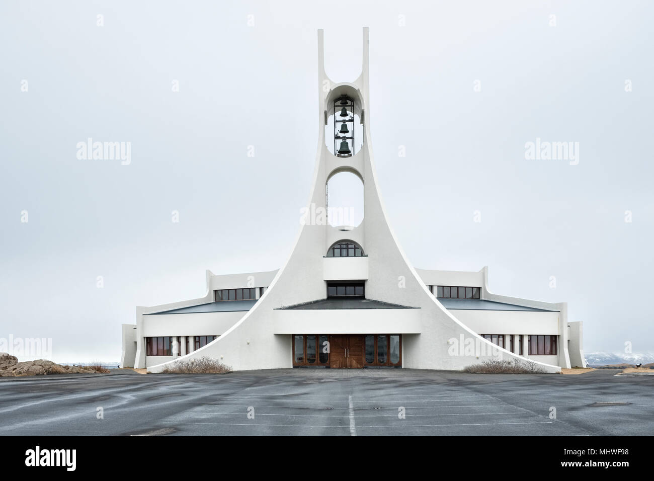 Stykkishólmur, Iceland, on the Snæfellsnes peninsula. The new church designed by Jón Haraldsson was built in 1990. It is also used as a concert hall - Stock Image