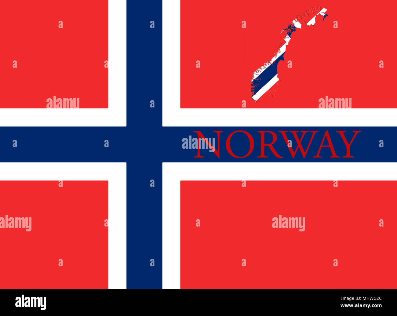 Flag of Norway. Blue Scandinavian Cross Over the Dannebrog With Norwegian Map and Country Name On It 3D illustration - Stock Image