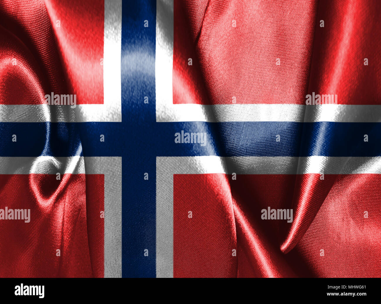 Flag of Norway. Blue Scandinavian Cross Over the Dannebrog, the Flag of Denmark 3D illustration - Stock Image