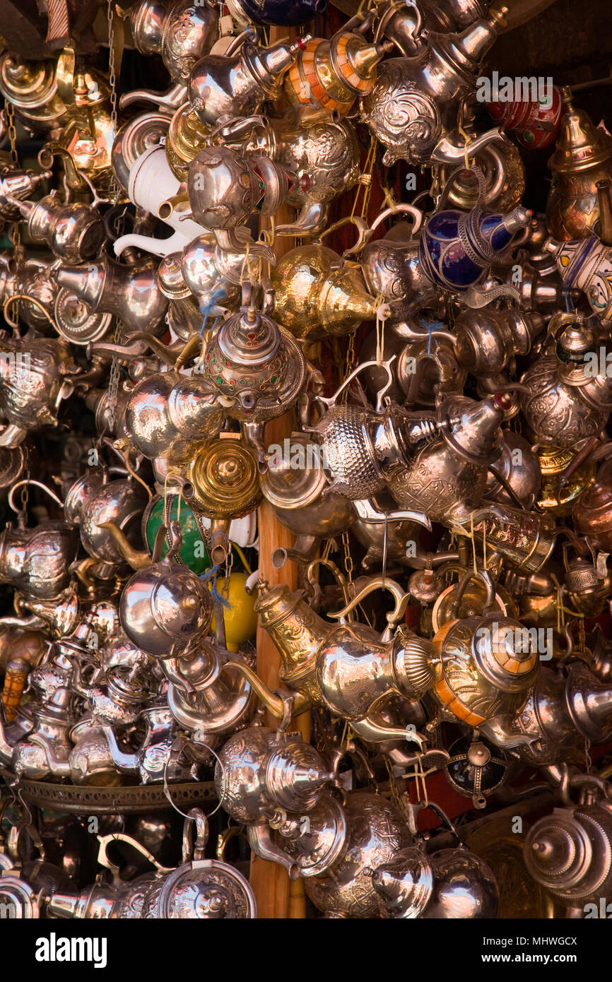 Marrakesh, Morocco; Teapots for sale in the medina. - Stock Image
