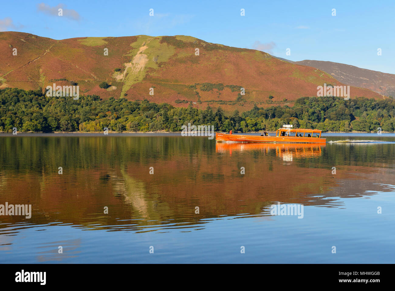 Lady Derwentwater motor launch travelling on Derwent Water in the Lake District National Park, Cumbria, England - Stock Image