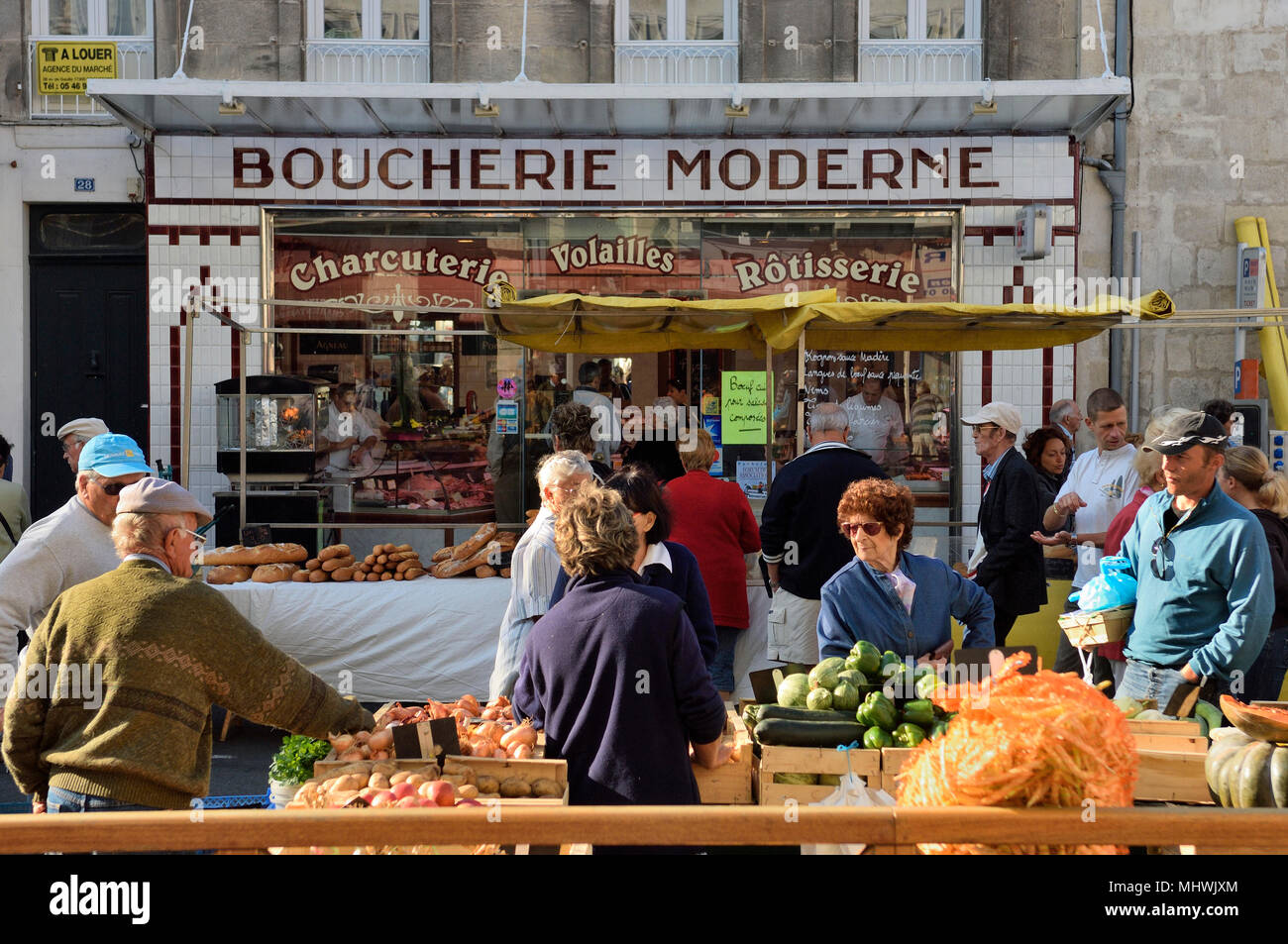 Traditional butchers, Rochefort, France - Stock Image