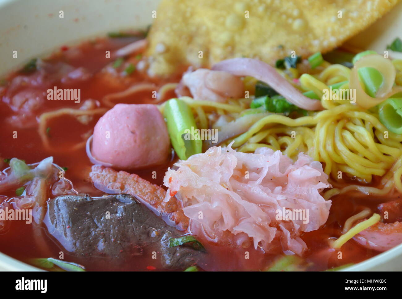 spicy youg tau foo in bowl - Stock Image
