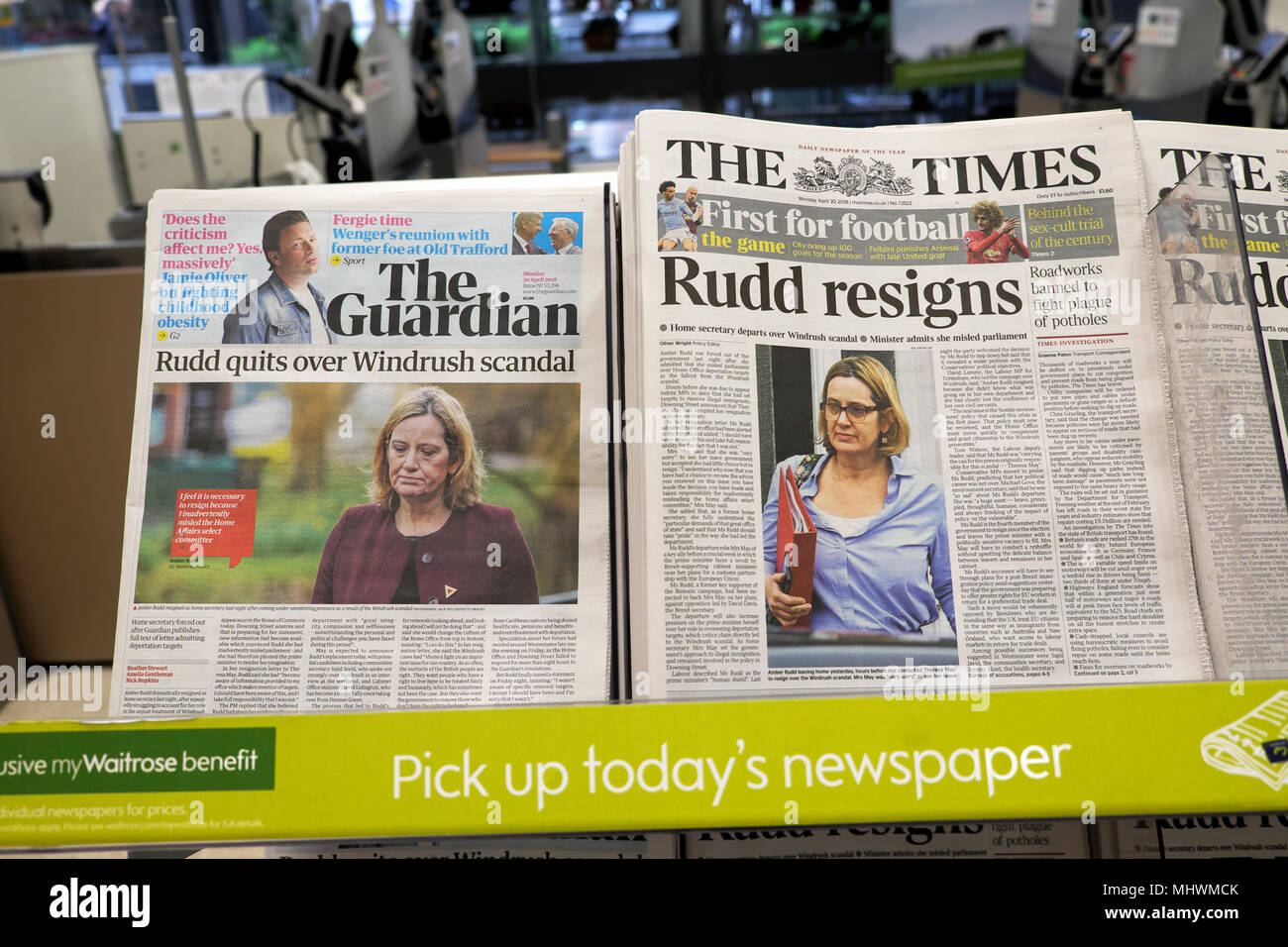 'Amber Rudd quits over Windrush scandal' news headline in The Guardian and 'Rudd resigns' on front page of The Times newspaper headlines 30 April 2018 - Stock Image