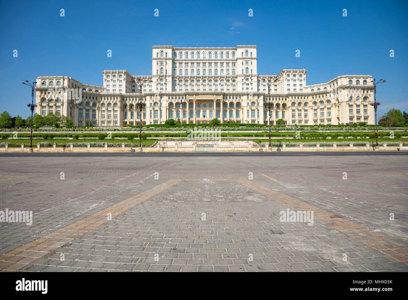 Building of Romanian parliament in Bucharest is the second largest building in the world Stock Photo