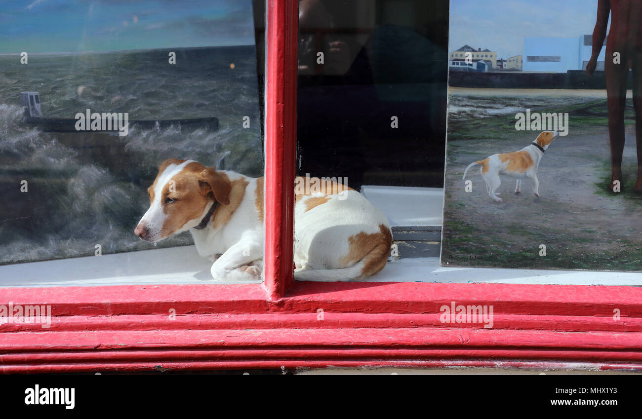 How much is that doggie in the window? Small brown and white dog in a shop window in Margate, Kent,  alongside a painting of the same animal. - Stock Image