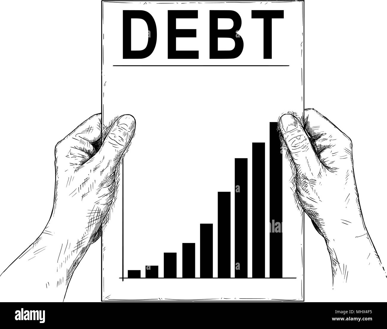 Vector Artistic Illustration or Drawing of Hands Holding Document With Raising Debt Chart or Graph - Stock Vector