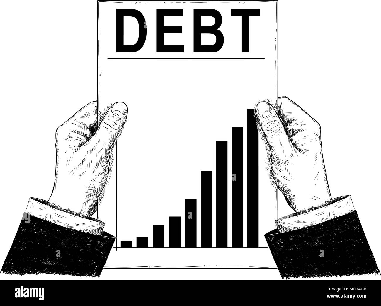 Vector Artistic Illustration or Drawing of Businessman Hands Holding Document With Raising Debt Chart or Graph - Stock Image