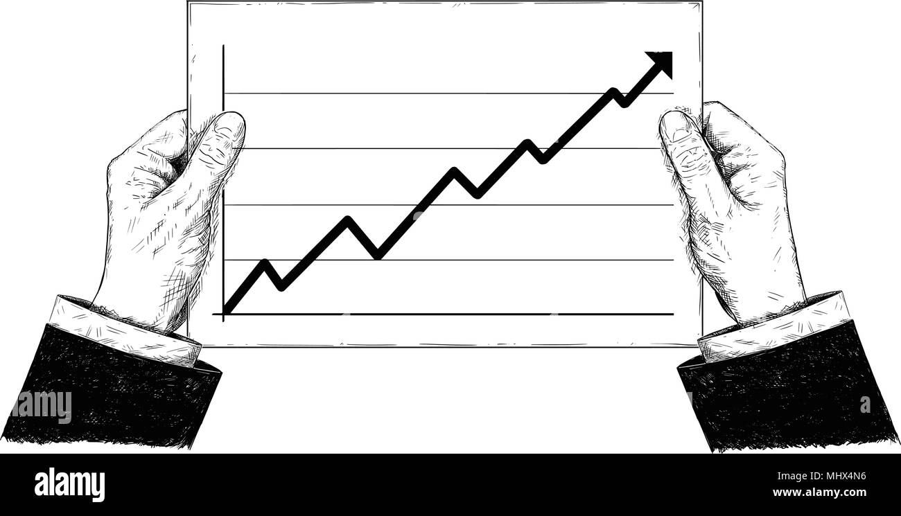 Vector Artistic Illustration or Drawing of Hands Holding Document With Raising Financial Chart or Graph - Stock Image