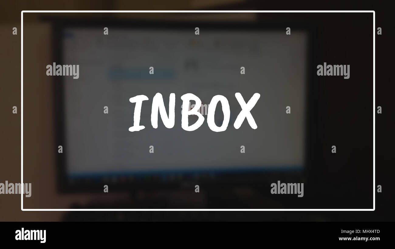 Inbox word with business blurring background - Stock Image