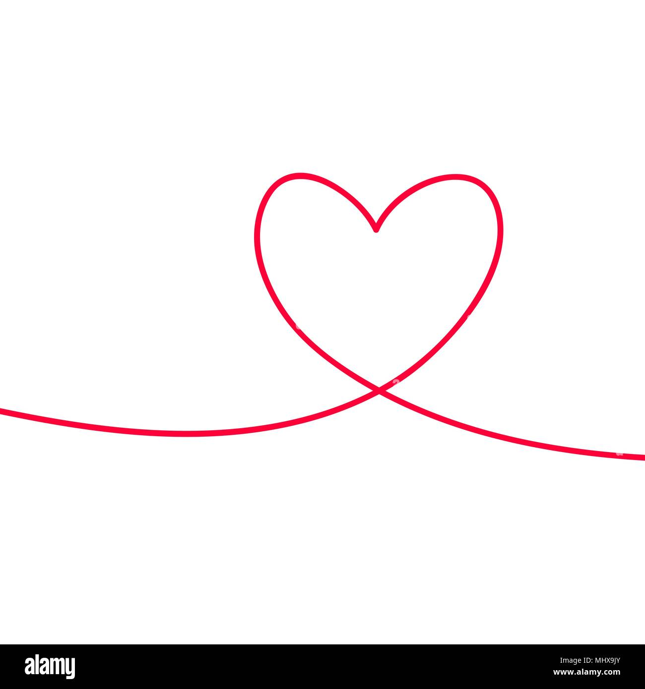 Heart in continuous drawing lines. Continuous black line. The work of flat design. Symbol of love and tenderness - Stock Image