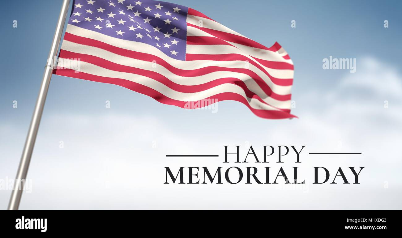 memorial day message with american flag on flagpole with sky background - Stock Image