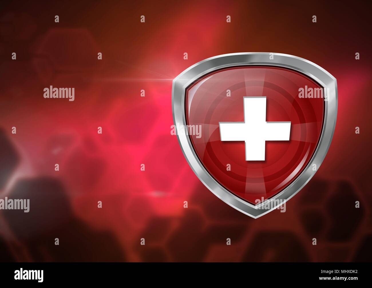 Health security protection shield and red blurred background - Stock Image