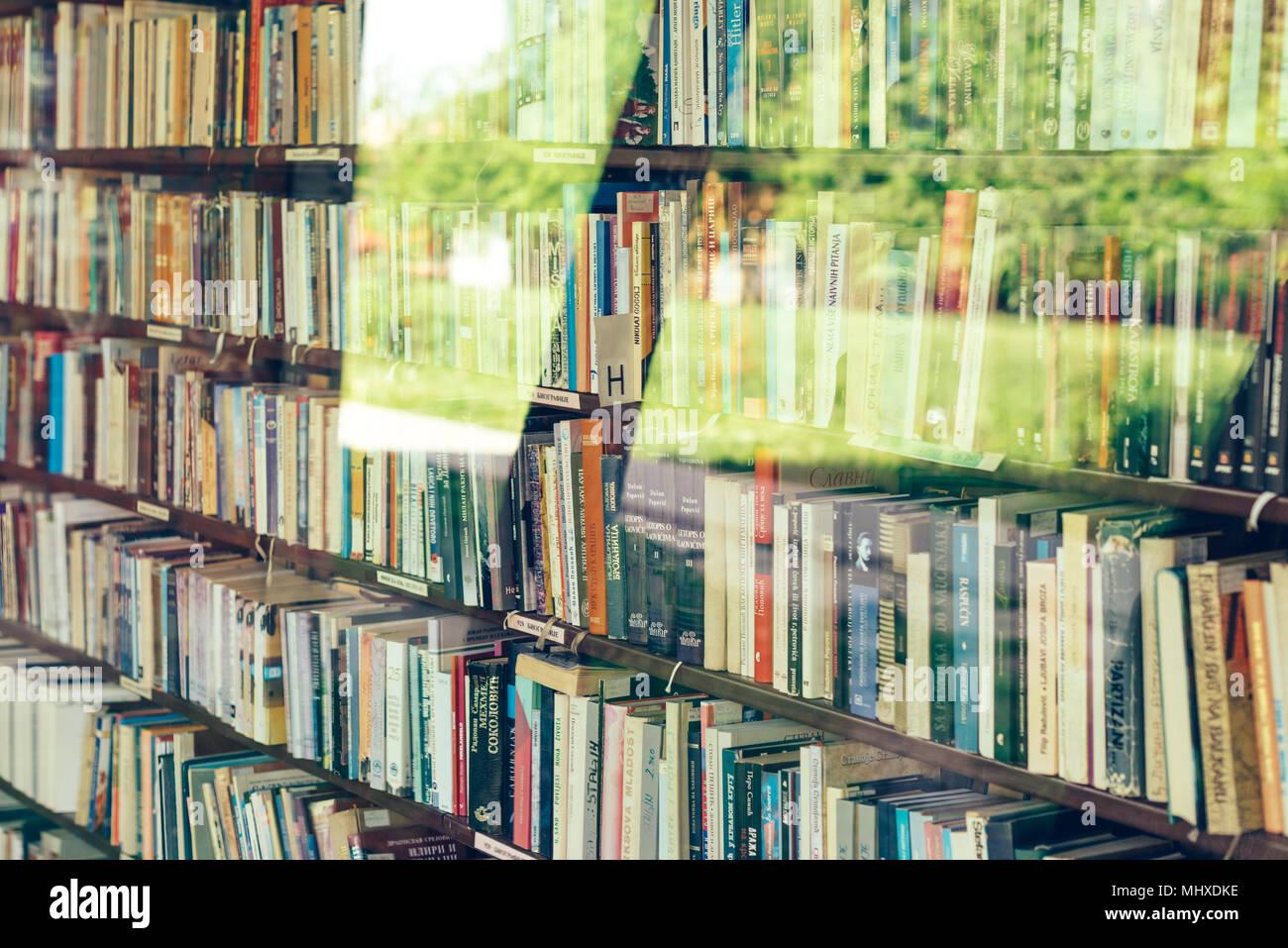 NOVI SAD, SERBIA - MAY 2, 2018: Various books on the shelf in small library at Bistrica in Novi Sad, illustrative editorial - Stock Image