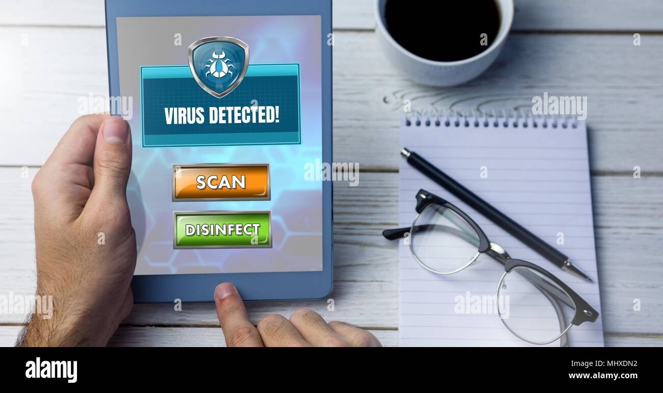 Virus detection shield protection with scan button - Stock Image