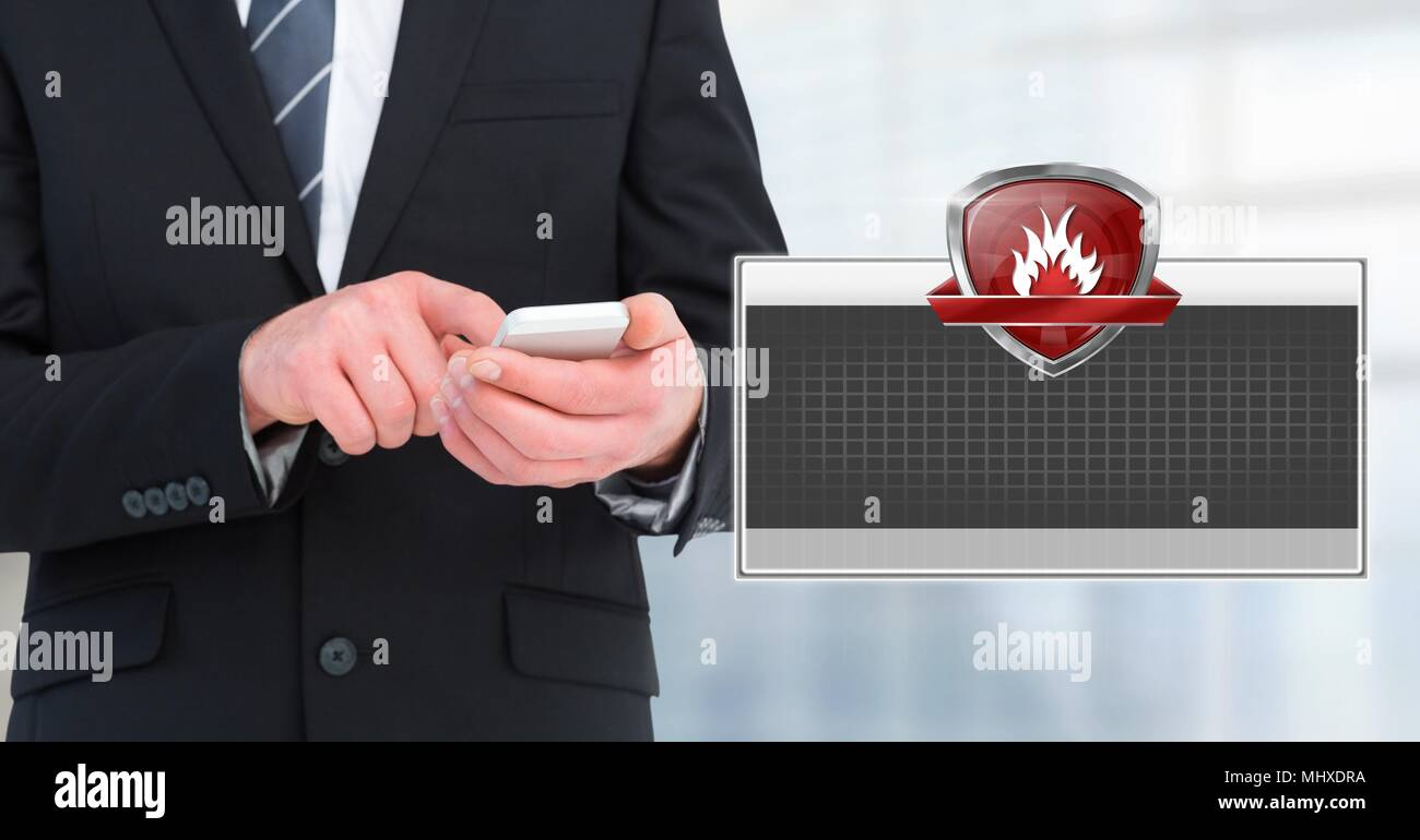 Firewall shield icon box and man using phone - Stock Image