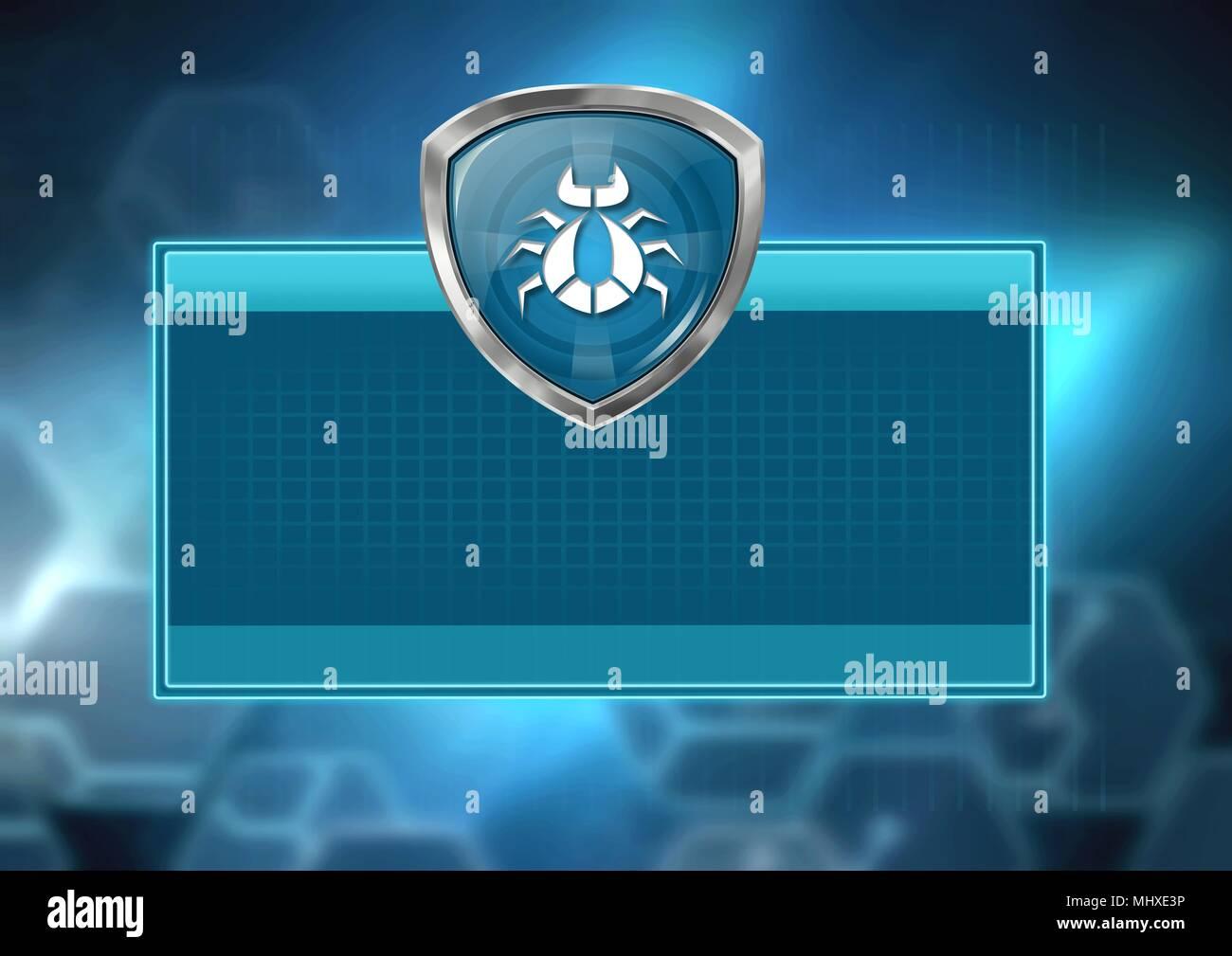 Bug virus shield protection with box - Stock Image