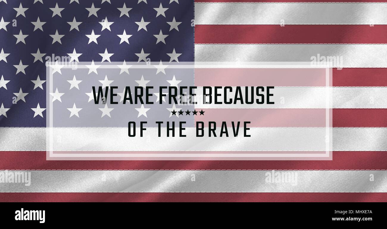 Memorial Day Message With White Box Outline And American Flag Background