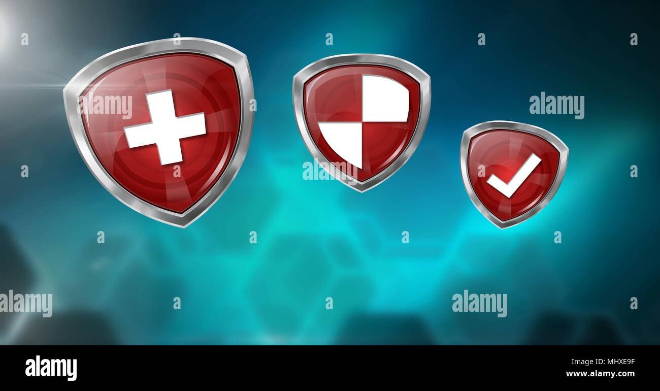 Antivirus security protection shields and blue blurred background - Stock Image