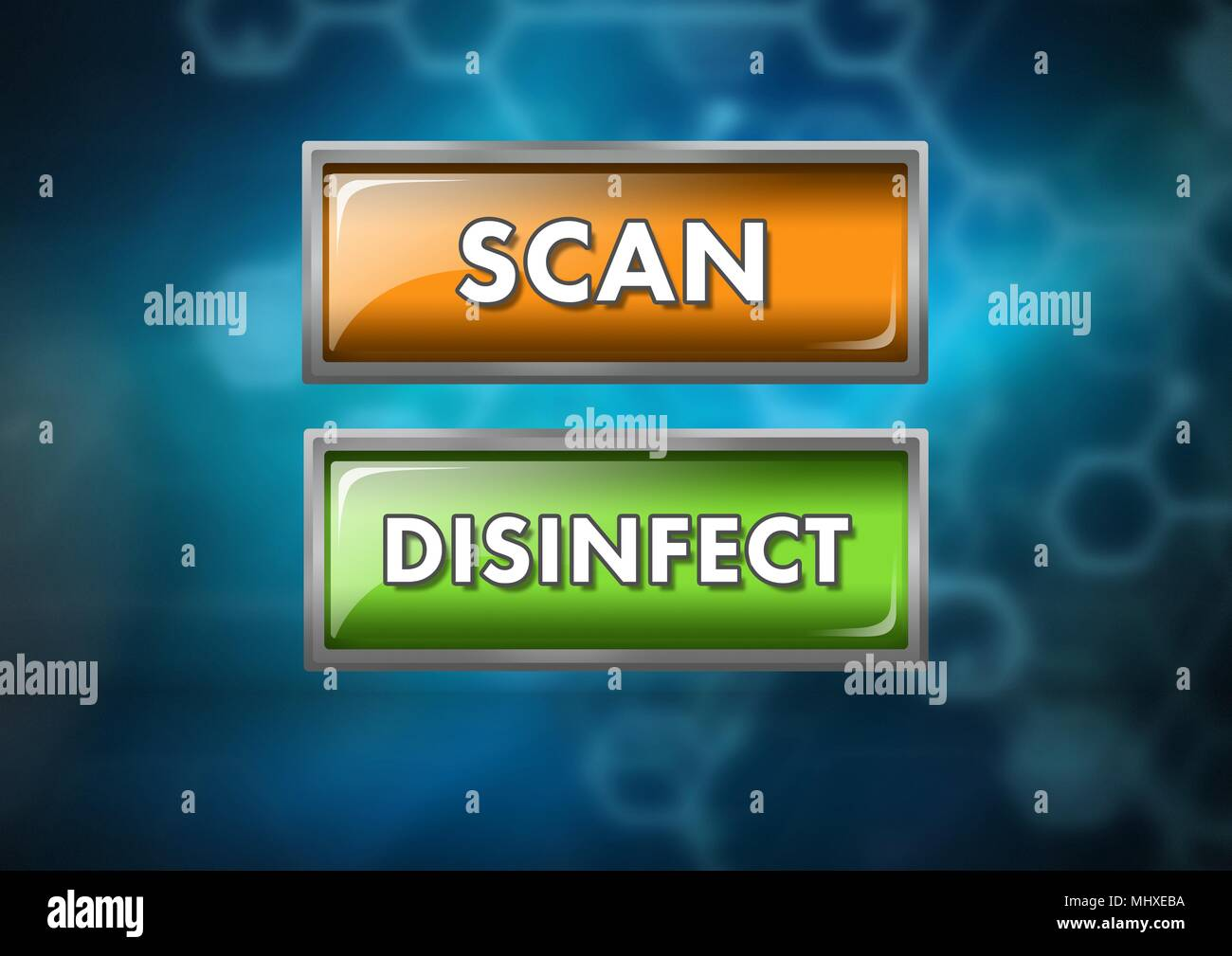 Scan and disinfect buttons on blue blurred background - Stock Image