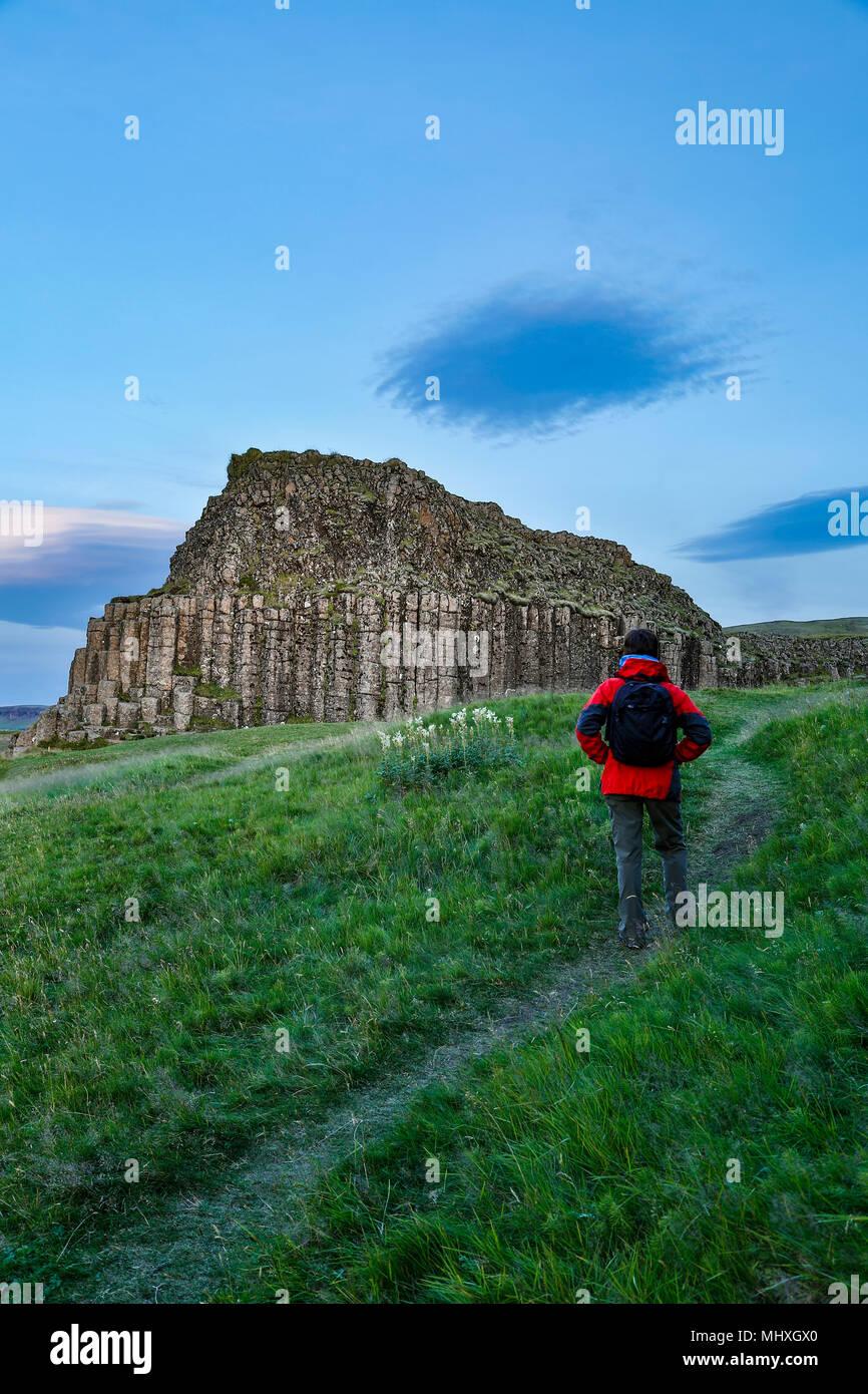 Columnar basalt outrcop and hiker on trail, Dverghamrar (Dwarf Cliffs), near Foss, Iceland - Stock Image