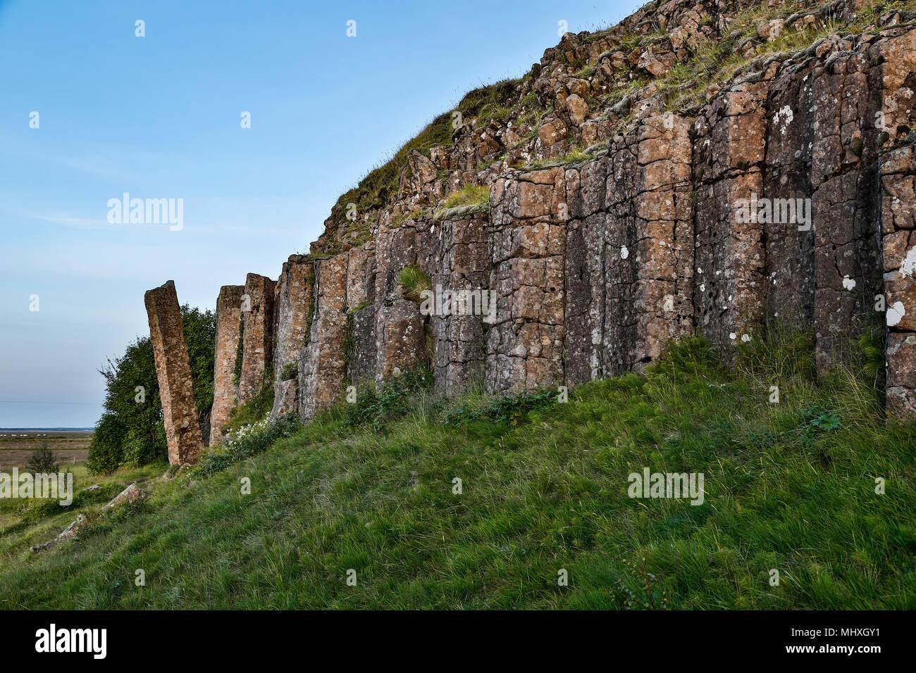 Columnar basalt outrcop, Dverghamrar (Dwarf Cliffs), near Foss, Iceland - Stock Image