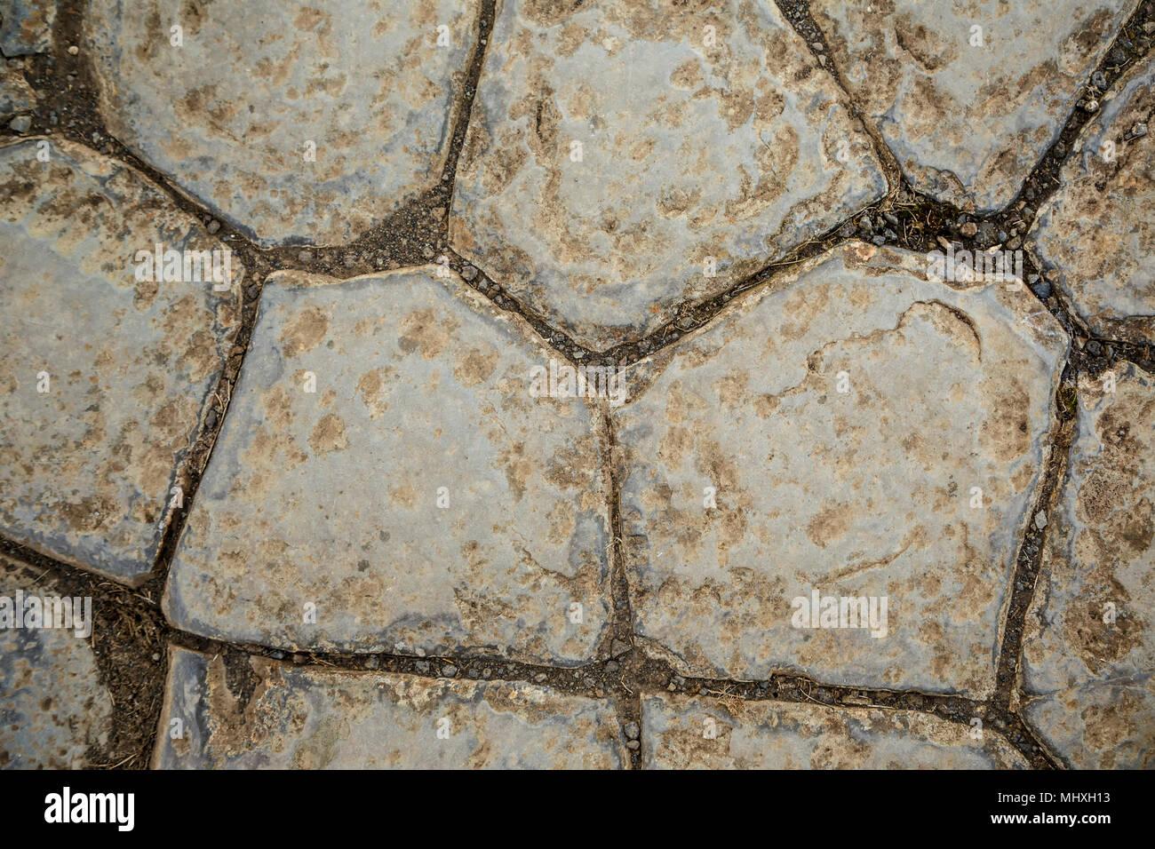 The Church Floor (Kirkjugolfid) columnar basalt outcrop, Kirkjubaejklastur, Iceland - Stock Image