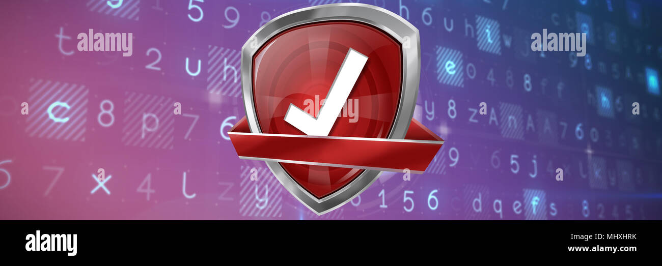 Composite image of red validation symbol - Stock Image