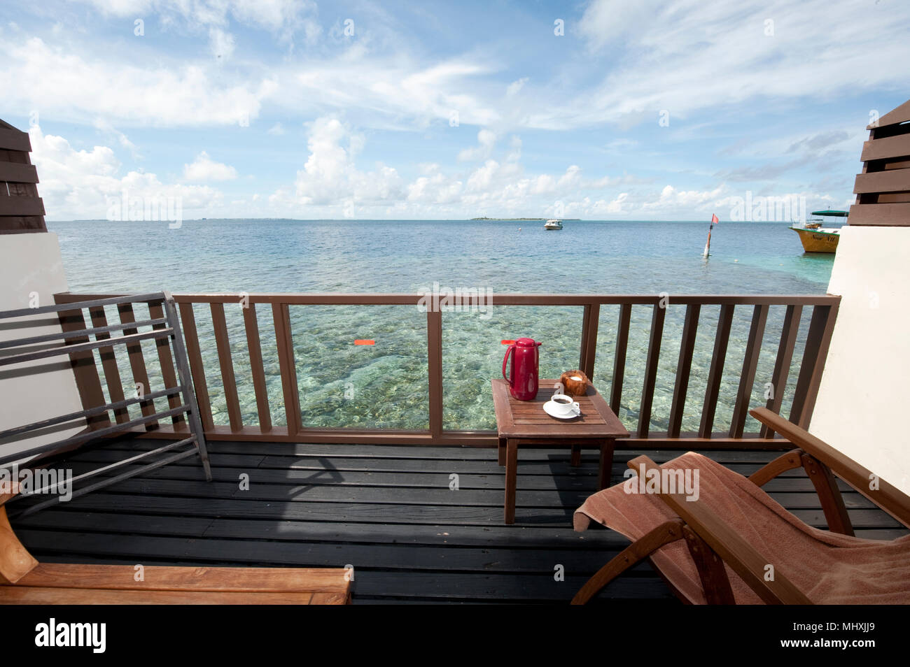 balcony view on tropic lagoon | Balkonblick auf tropische Lagune - Stock Image