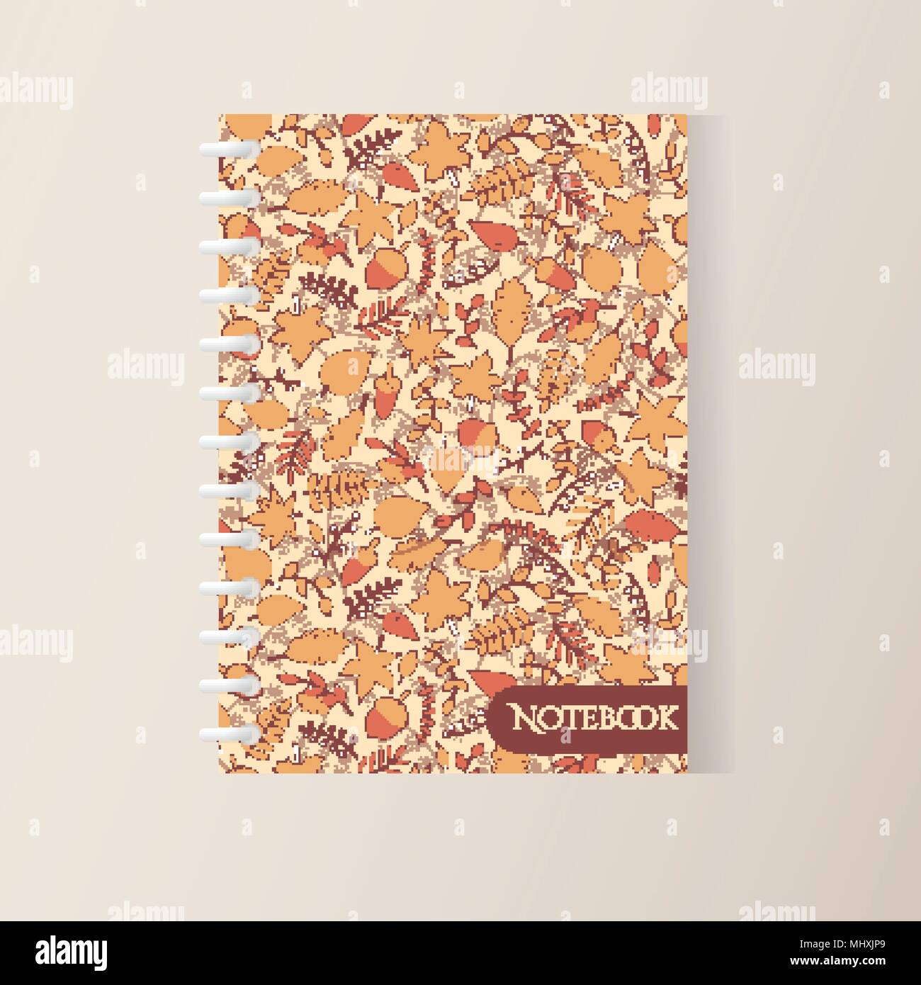 Vector Autumn Spiral Notebook Cover With Pattern Containing Maple