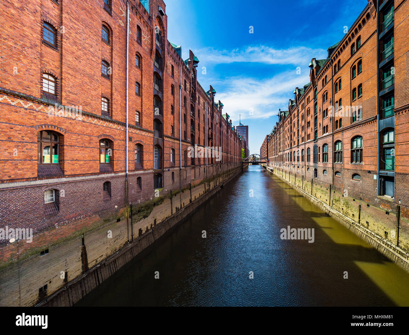 Hamburg Speicherstadt or Warehouse City / Warehouse District - one of the world's largest warehouse districts within the Hafencity quarter of the port Stock Photo