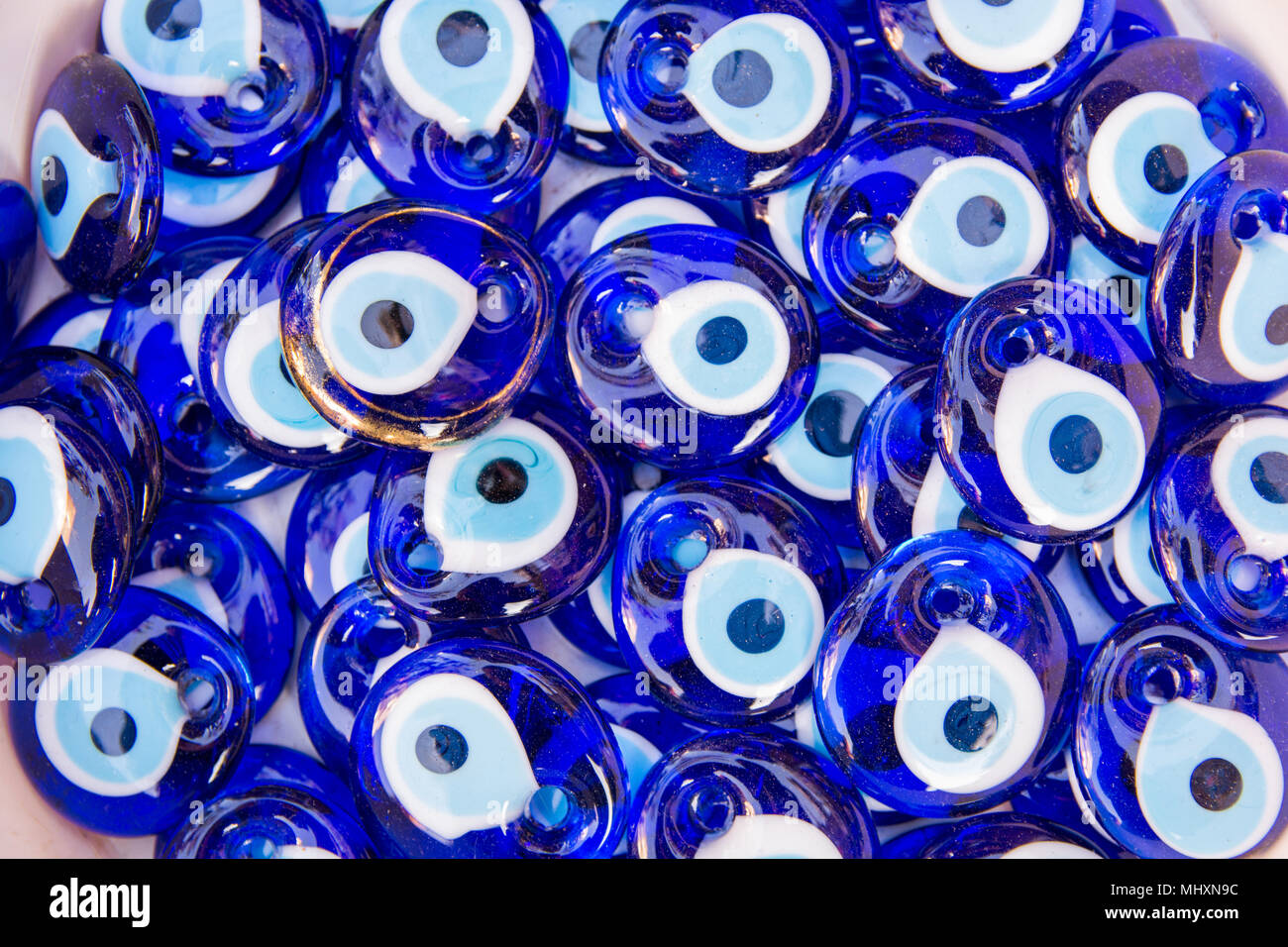 Evil eye bead souvenirs broken glass is melted and shaped  In