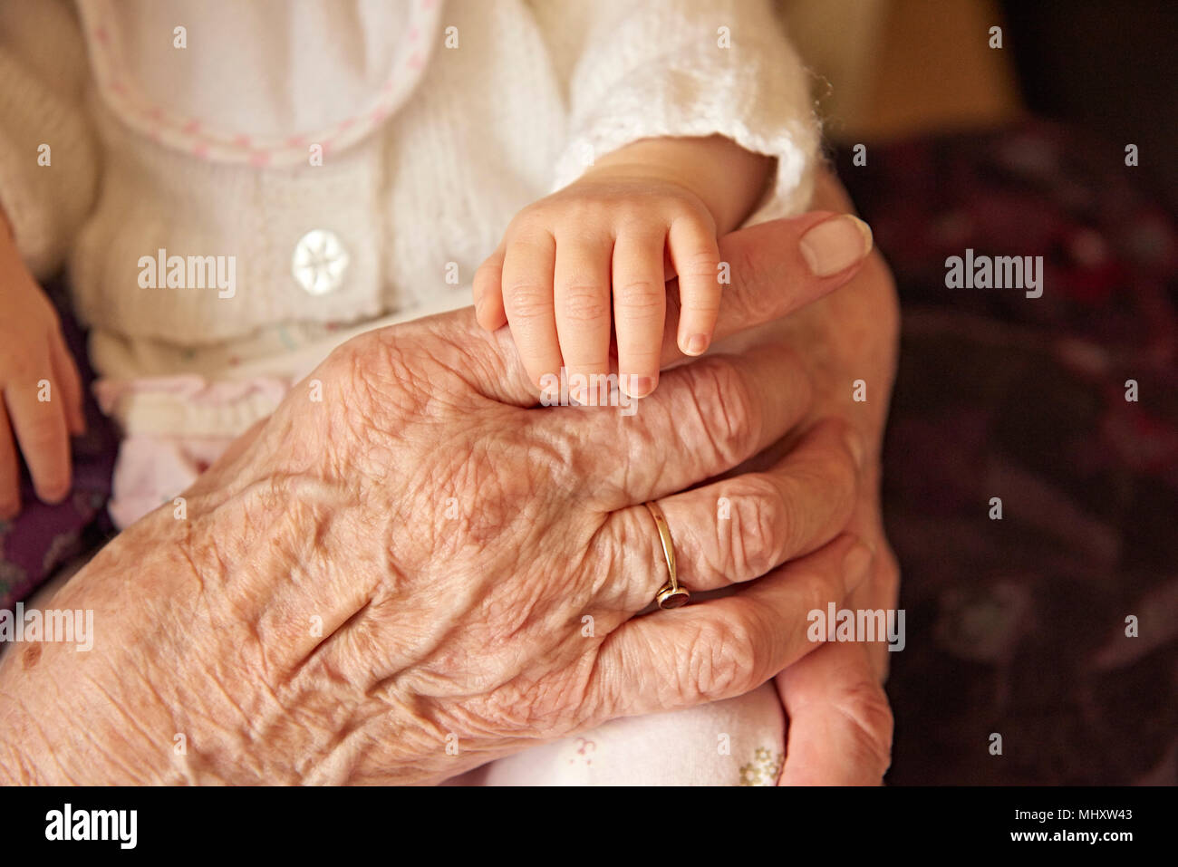 Senior woman holding baby great granddaughter, close up of hands - Stock Image