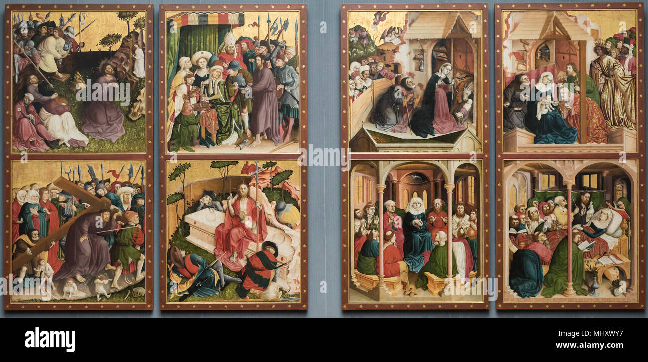Hans Multscher, (ca. 1400-1467), Wings of the Wurzach Altarpiece, 1437. Die Flügel des Wurzacher Altars. Stock Photo