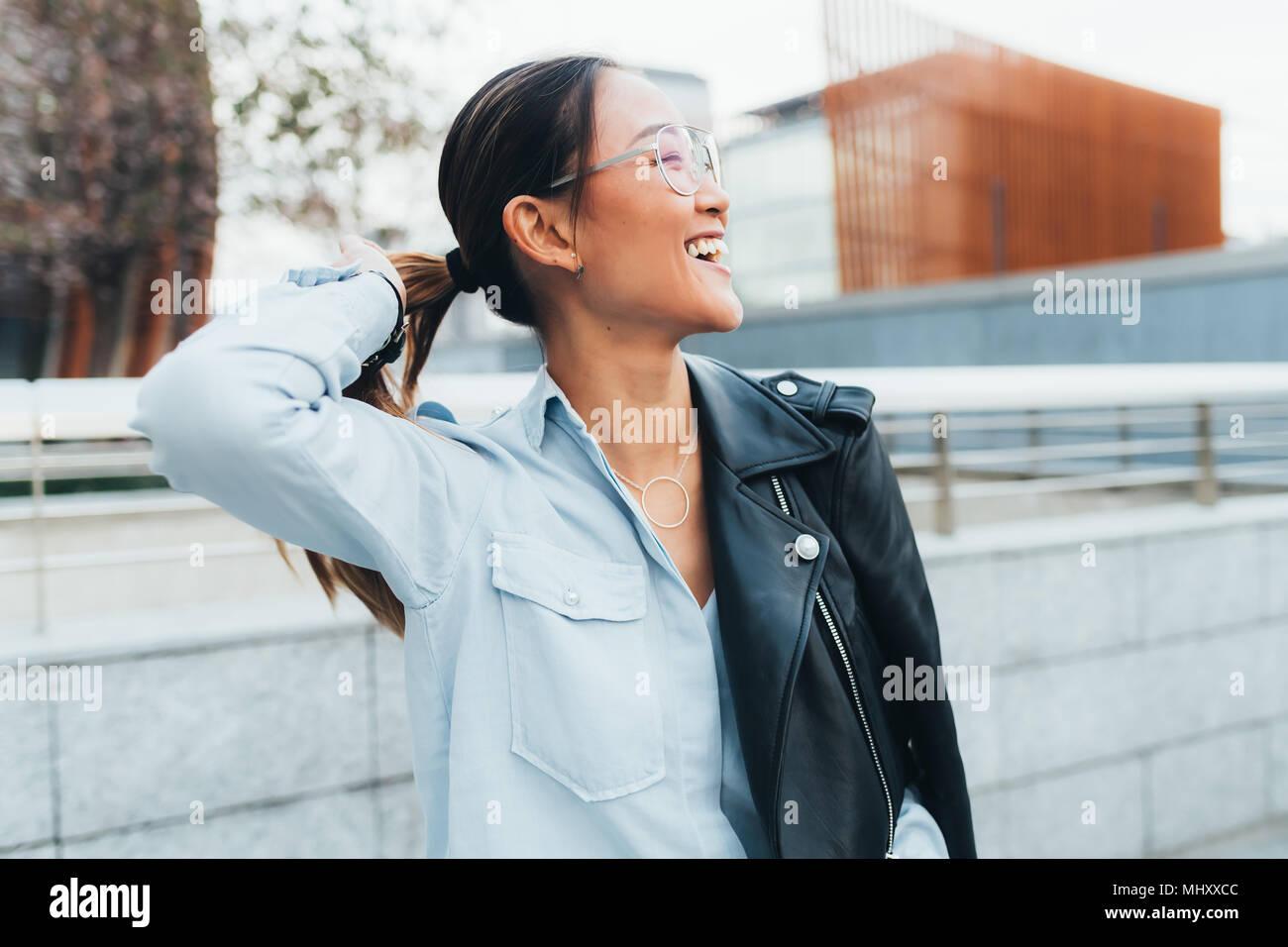 4731e2e9c6a0 Portrait of businesswoman outdoors