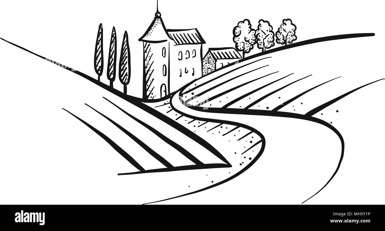 Hand-drawn vector farmland sketch. Landscape and Houses with path. - Stock Image