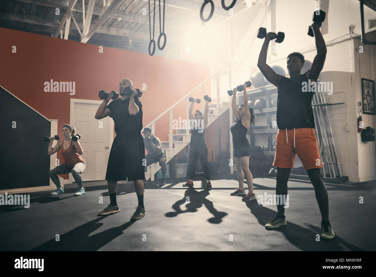 Man using dumbbells in gym - Stock Image