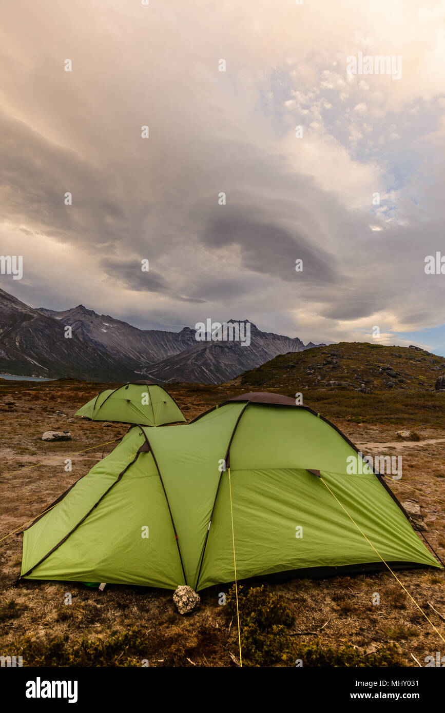 Tents pitched in the Tasermiut Fjord, Narsaq, Vestgronland, Greenland - Stock Image