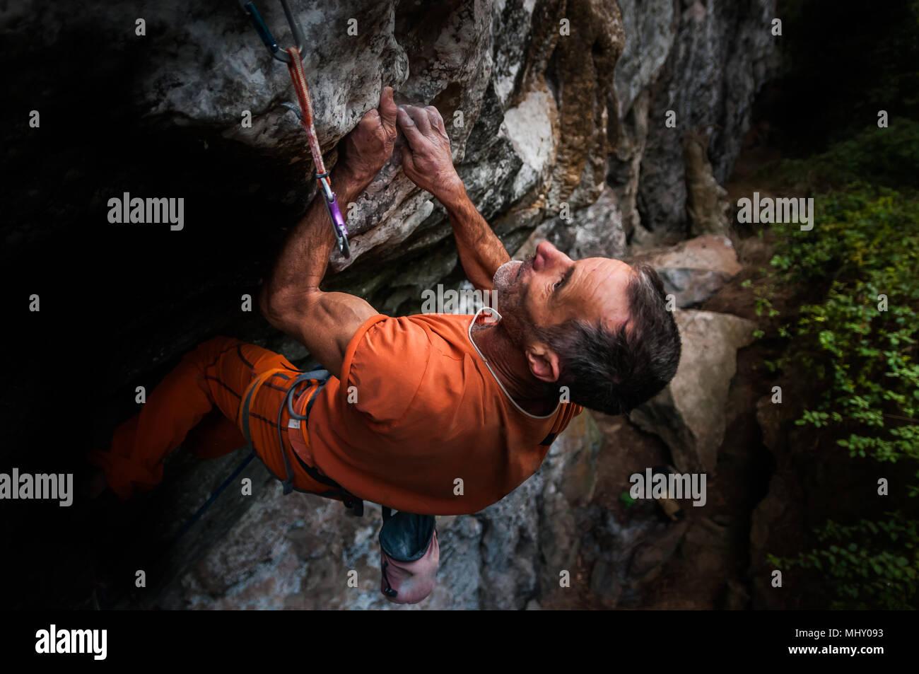 Rock climbing, Hidden Valley, Cat Ba Island, Vietnam - Stock Image