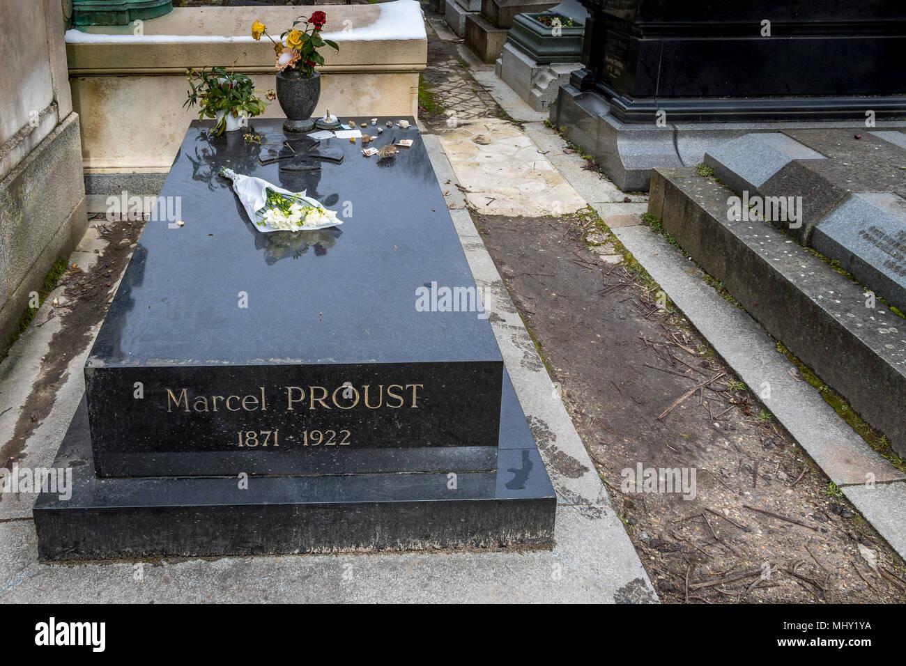 Grave of the French Novelist  Marcel Proust at Père Lachaise Cemetery , Paris , France - Stock Image