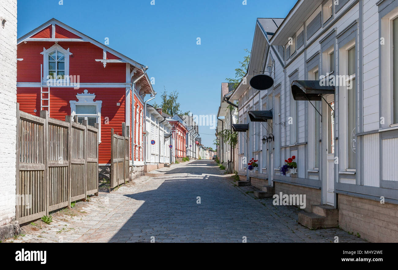 historical city of timberhouses, City of Rauma, Finland - Stock Image