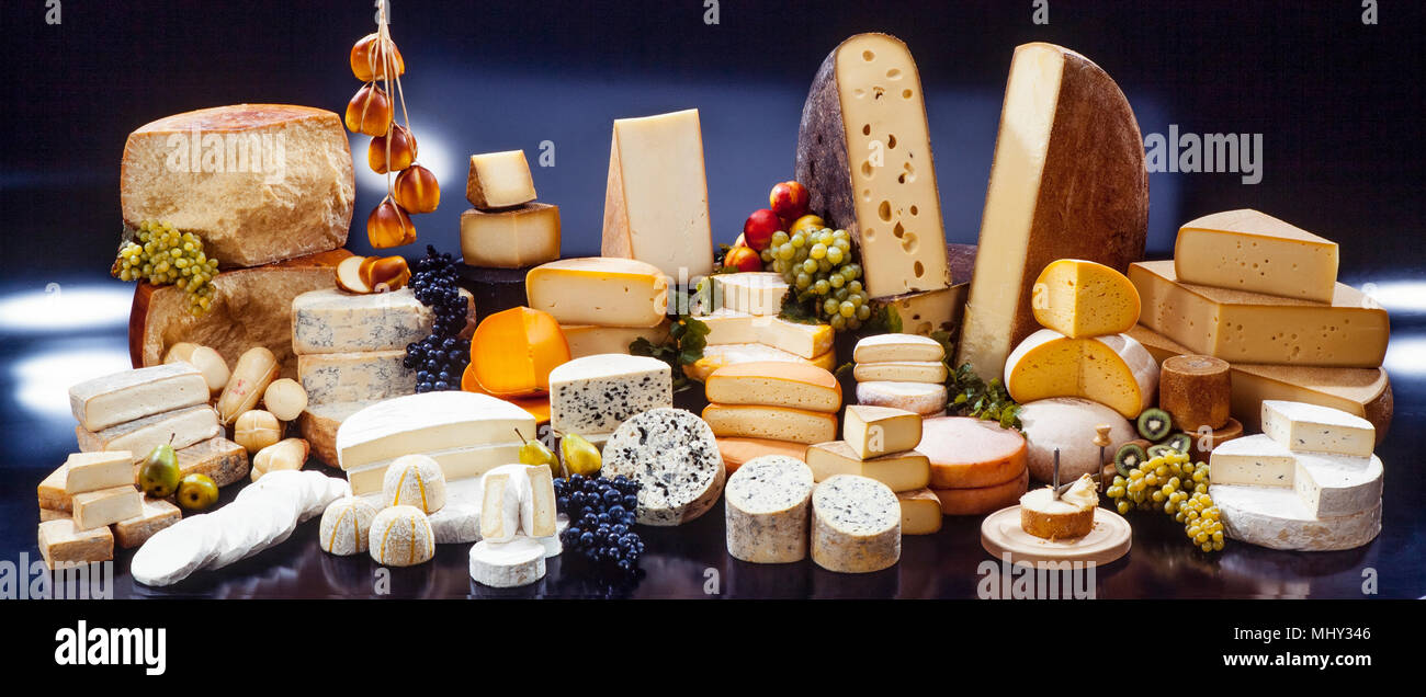 decorative board of selected french and italien cheese - Stock Image